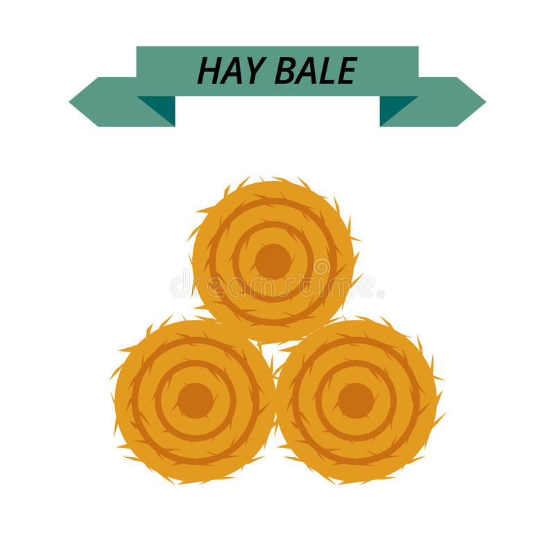 Mucchio di fieno secco piano isolato su fondo bianco Coltivando il haymow imballi l'illustrazione di vettore del hayloft, mucchio royalty illustrazione gratis