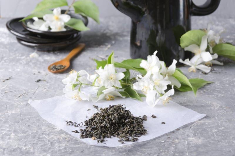 Mucchio di tè verde su pezzo di carta bianco, la teiera nera ed i piatti, fiori freschi aromatici del gelsomino sulla tavola grig immagine stock