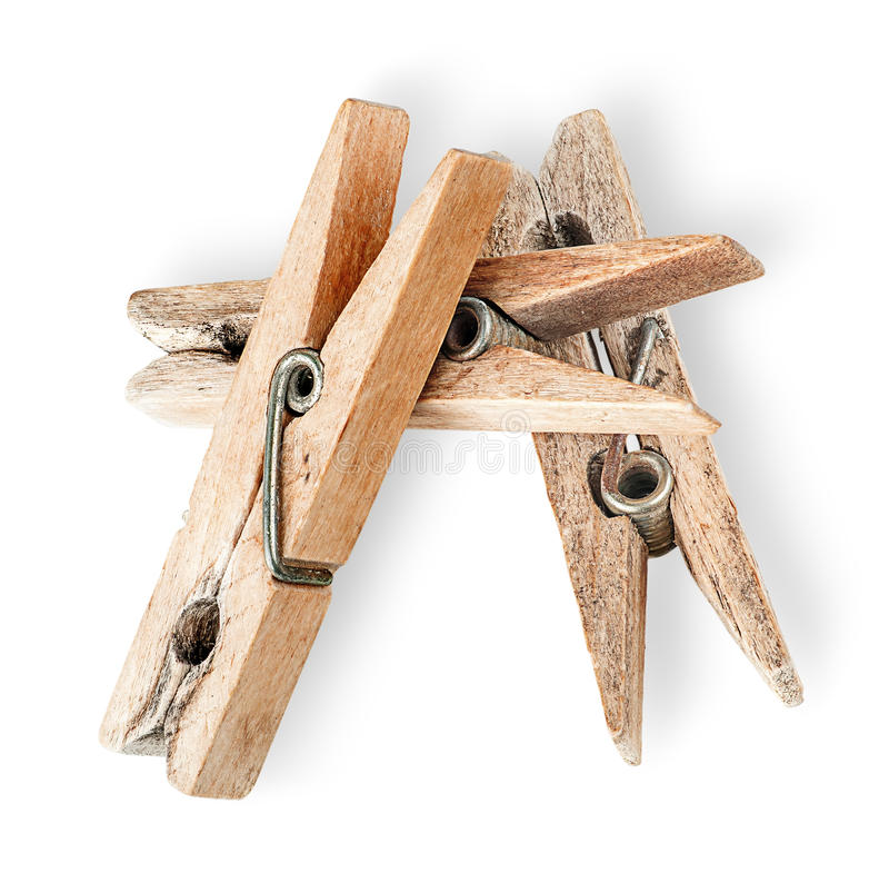 Mucchio di vecchie mollette da bucato di legno fotografie stock libere da diritti