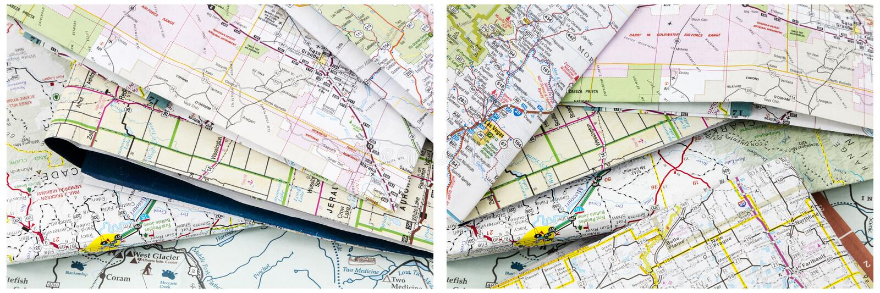 Mucchio di viaggio piegato mappe immagini stock libere da diritti