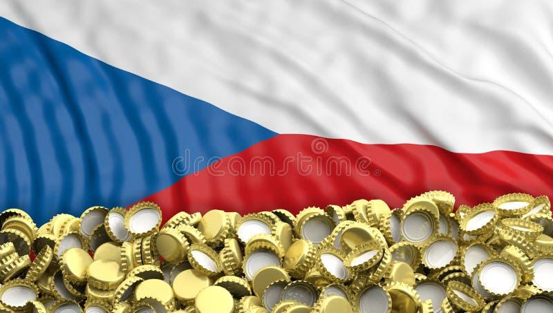 Mucchio dorato dei cappucci della birra sul backgroun della bandiera della repubblica Ceca illustrazione 3D illustrazione di stock