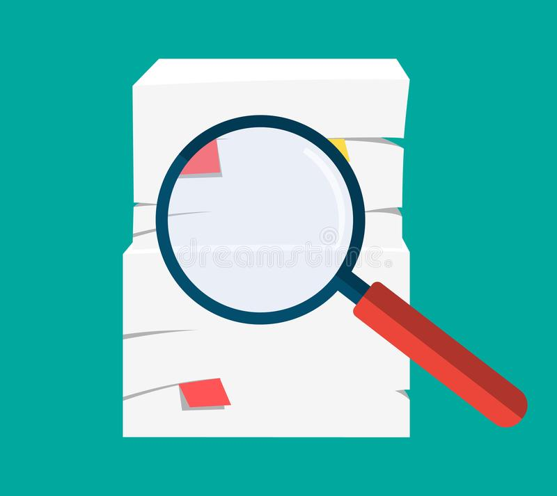 Mucchio e lente d'ingrandimento di carta illustrazione vettoriale