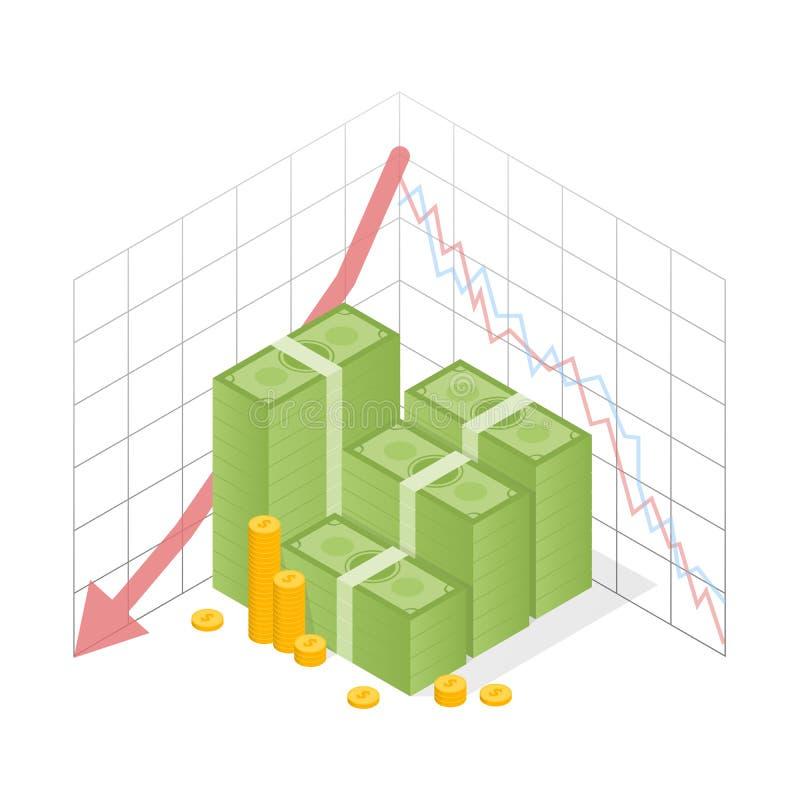 Mucchio isometrico dell'icona del grafico rosso di recessione dei contanti con la freccia discendente Monete verdi di oro e del d royalty illustrazione gratis
