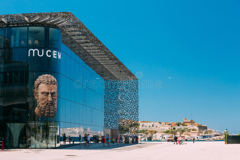 MUCEM building, civilizations museum of Europe and. Marseille, France - June 30, 2015: MUCEM, civilizations museum of Europe and the Mediterranean stock photography