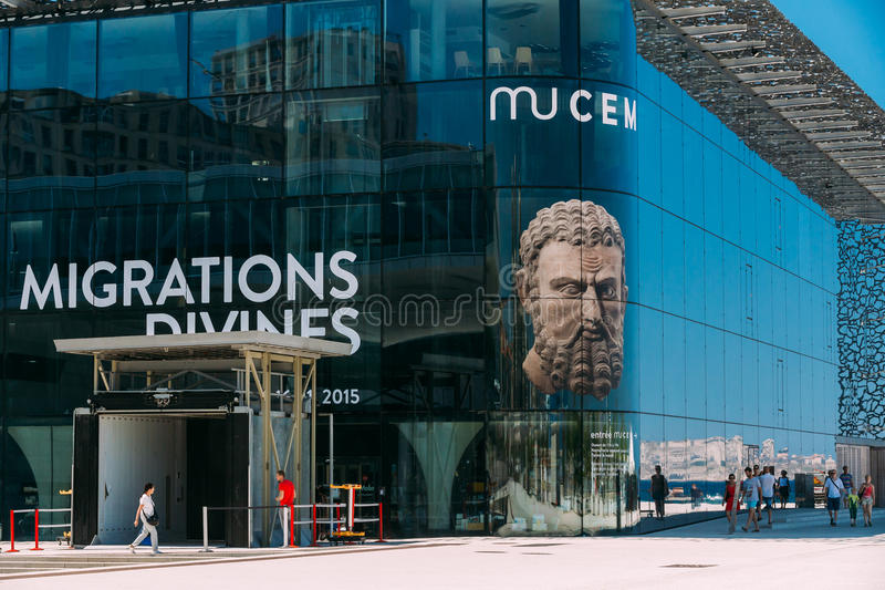 MUCEM building, civilizations museum of Europe and the Mediterranean Civilizations in Marseille, France. Marseille, France - June 30, 2015: MUCEM is modern royalty free stock images