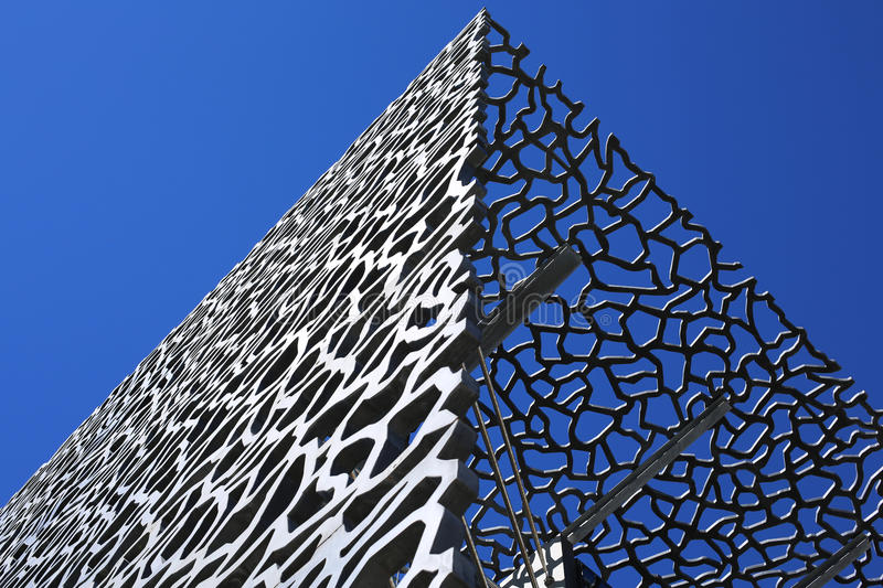 Mucem museum in Marseille. Mucem museum wall in Marseille with beautiful blue sky stock photos