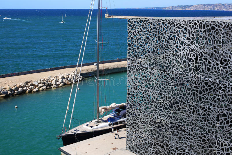Mucem museum in Marseille. Mucem museum wall in Marseille with beautiful blue sky royalty free stock photos