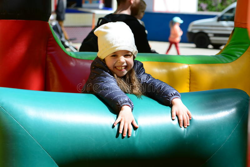 So much fun at a bouncy castle stock photography