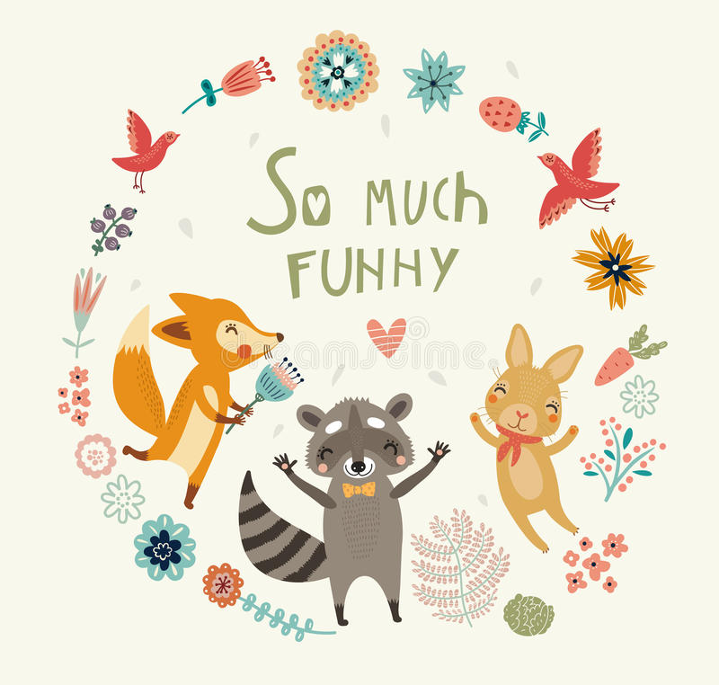 So much funny! Cute background with animal vector illustration