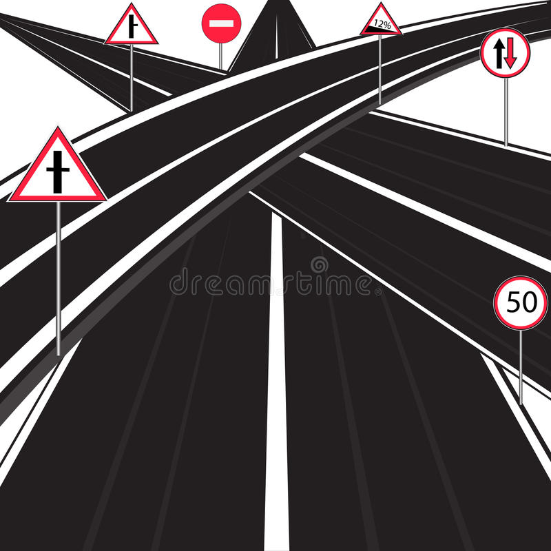 Much roads royalty free illustration
