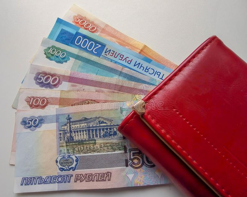 Much russian money rubles in wallet. Isolated object on white. Ruble pay royalty free stock photo