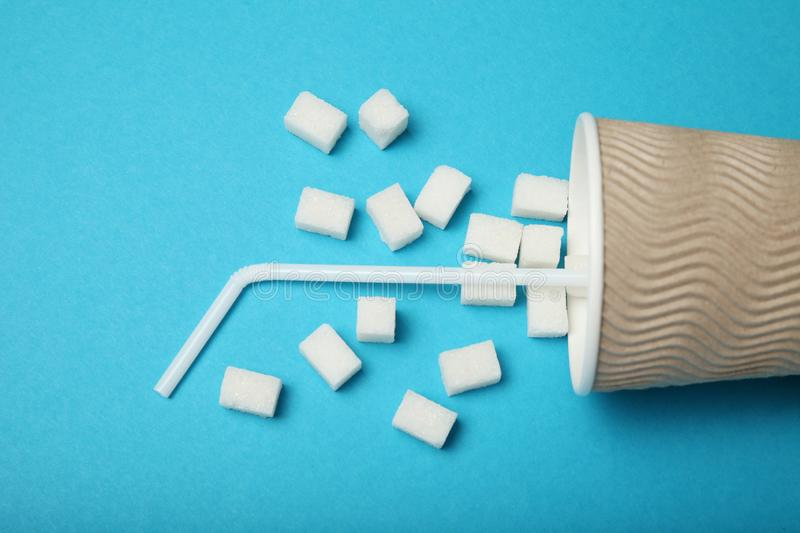 So much sugar in drinking beverage. Diabetes.  royalty free stock photo