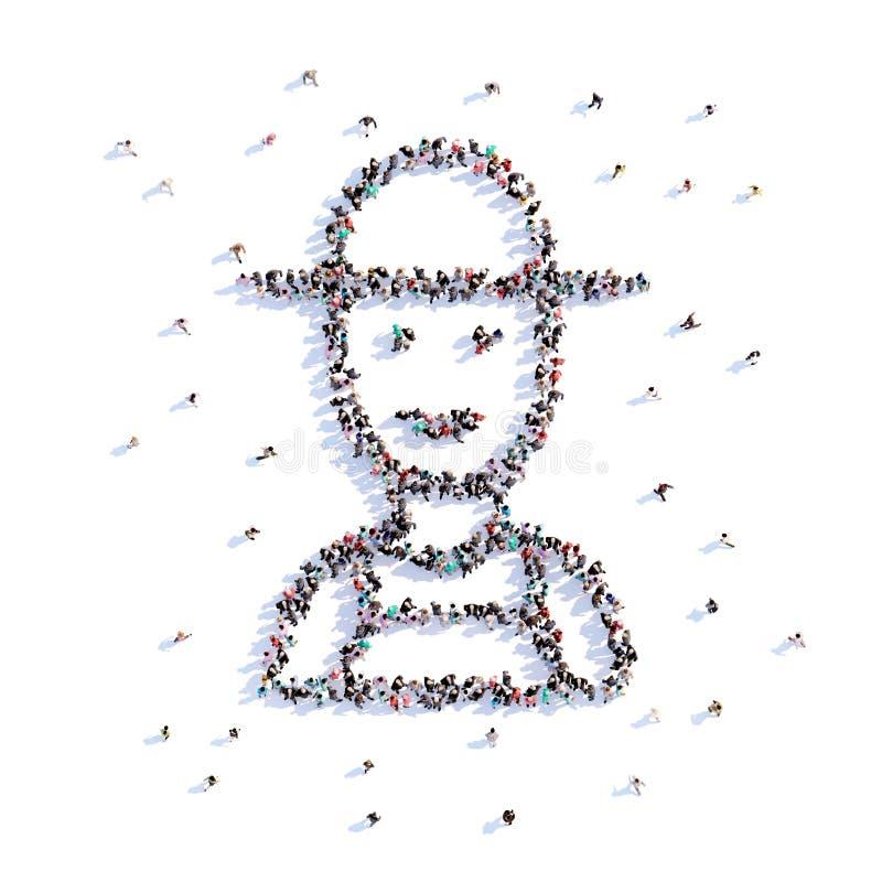 Mucha gente forma al granjero, cultivando, icono representación 3d ilustración del vector