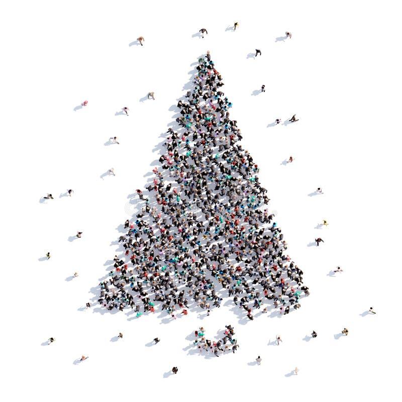 Mucha gente forma el árbol de navidad, dibujo del ` s de los niños representación 3d stock de ilustración
