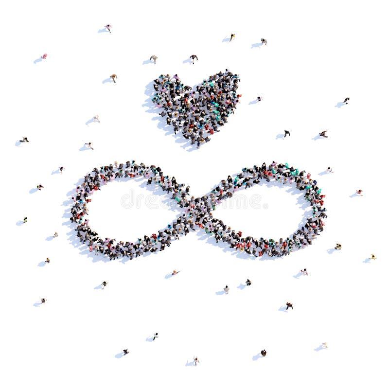 Mucha gente forma el amor sin fin, amor, icono representación 3d libre illustration