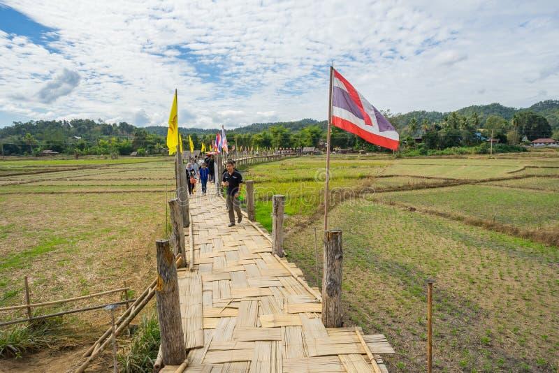 Mucha gente que camina en un puente y un x28 de bambú; Bridge& x29 del Su Tong Pe; fotos de archivo libres de regalías