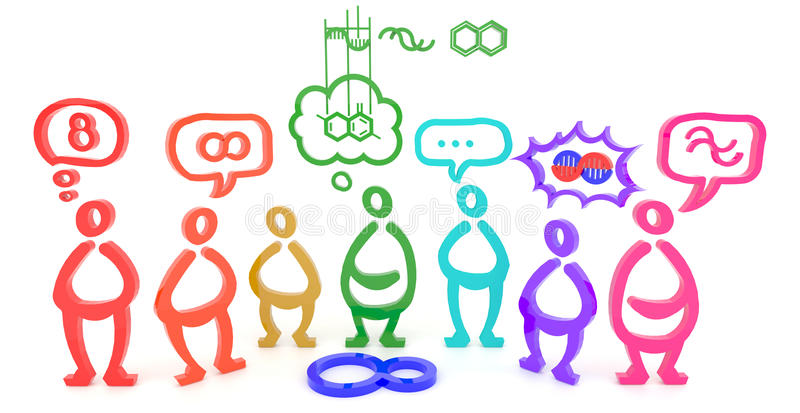 Mucha gente ve una cosa en diversos aspectos (3D) stock de ilustración
