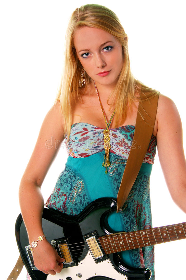 Muchacha 1 de la guitarra de la roca fotos de archivo libres de regalías