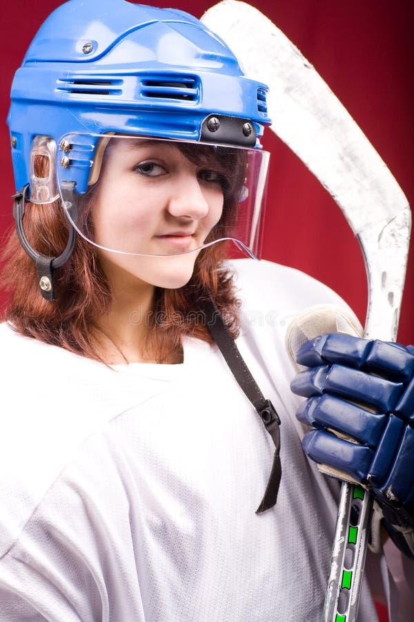 Muchacha 2 del hockey imagen de archivo libre de regalías