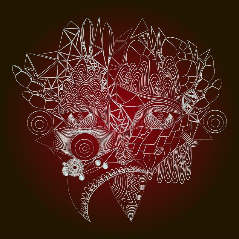 Muchacha abstracta cibernética de la cara Contorno blanco, aislado en fondo del clarete ilustración del vector