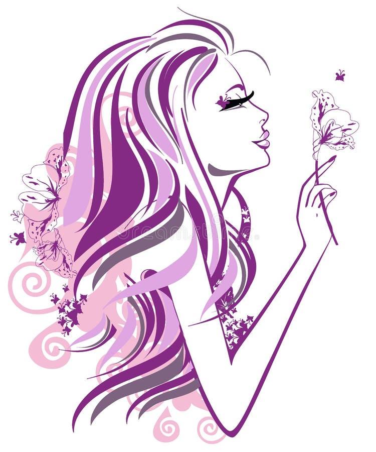 Muchacha abstracta con las flores en perfil stock de ilustración