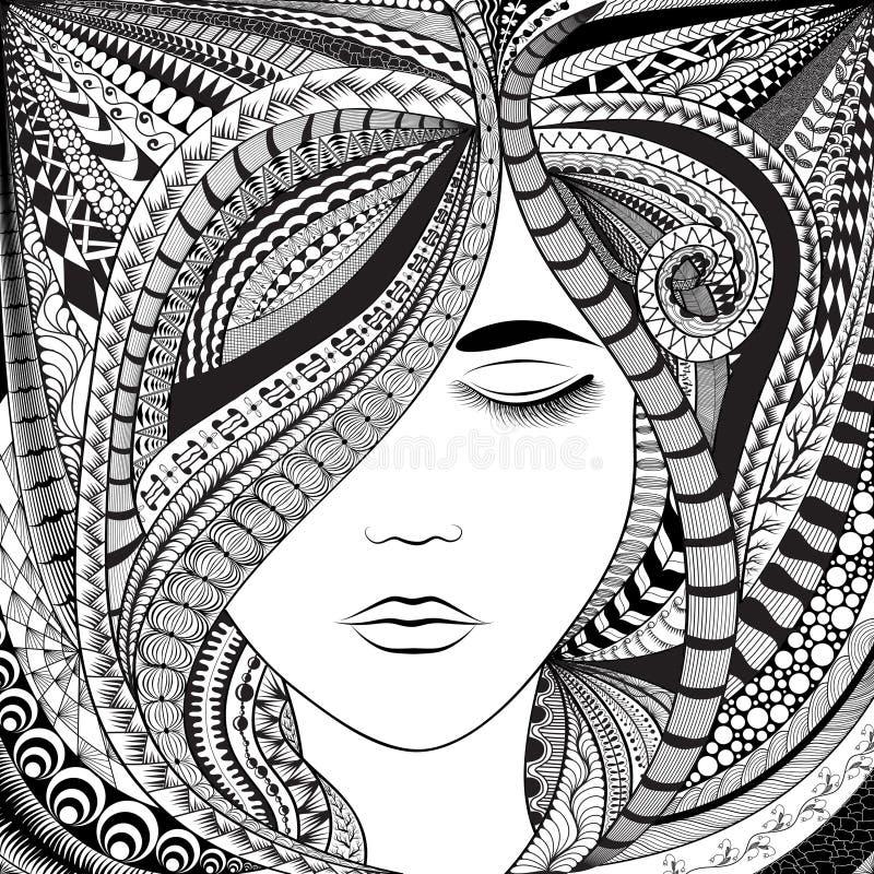 Muchacha abstracta del pelo stock de ilustración