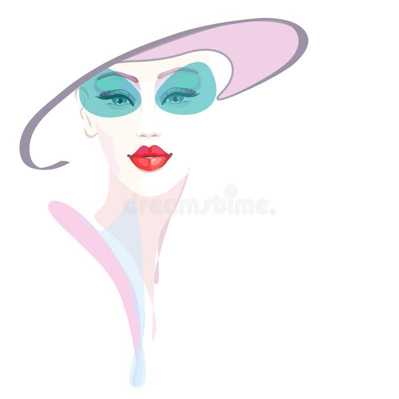 Muchacha abstracta del retrato de la acuarela, gris rosado del sombrero, stock de ilustración