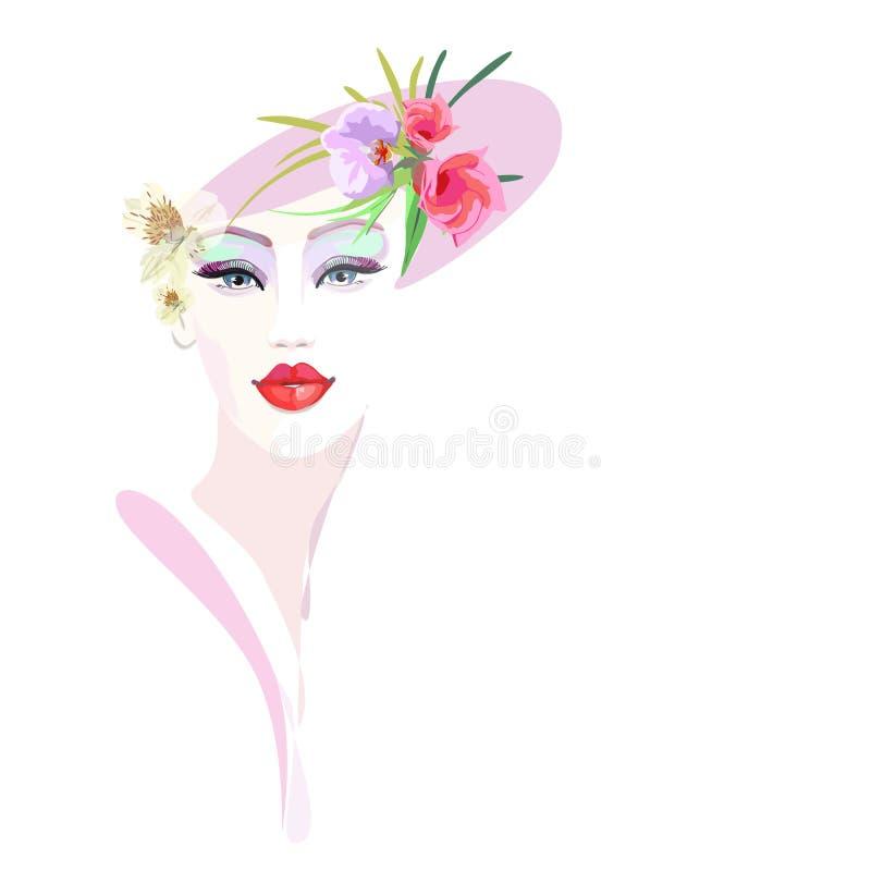 Muchacha abstracta del retrato de la acuarela, rosa floral del sombrero ilustración del vector