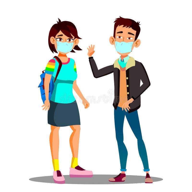 Muchacha adolescente asiática, muchacho que lleva una mascarilla en la ciudad tosiendo vector Ejemplo aislado de la historieta ilustración del vector