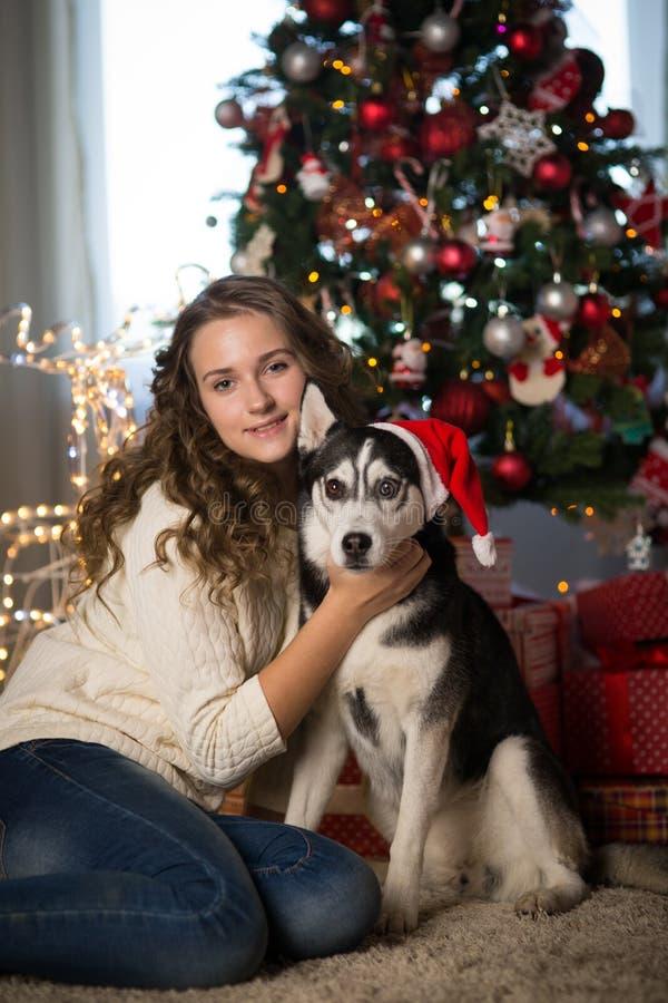 Muchacha adolescente con el perro, para la Navidad fotografía de archivo