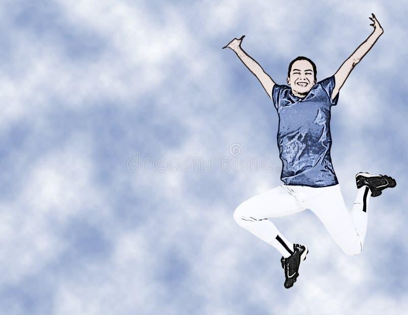 Muchacha adolescente de la ilustración en el salto uniforme libre illustration
