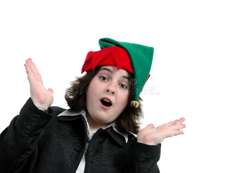 Muchacha adolescente del día de fiesta sorprendida imagen de archivo