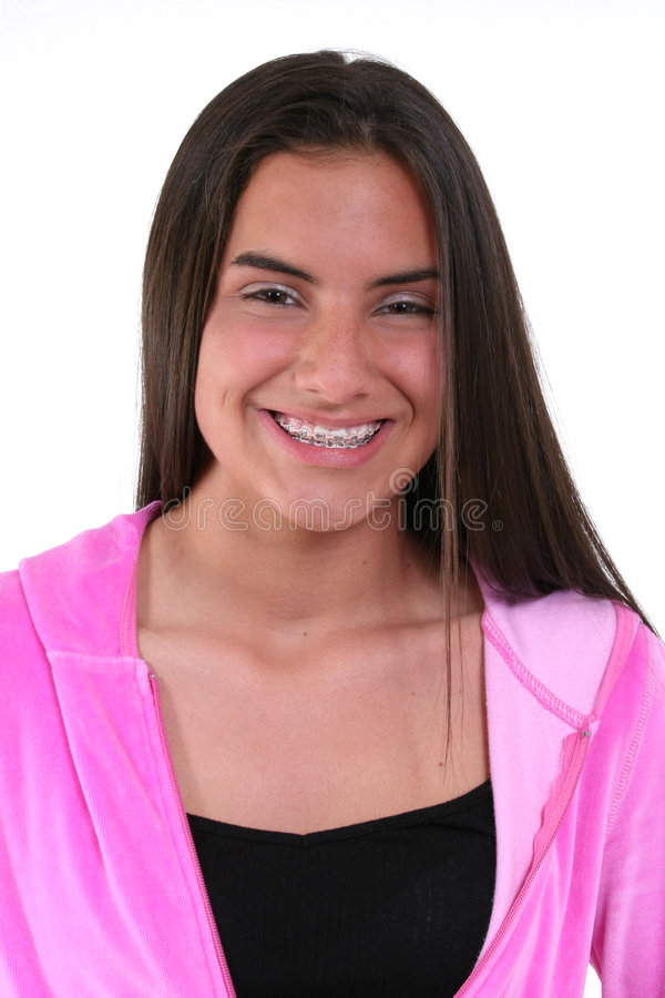 Muchacha Adolescente Hermosa En Color De Rosa Foto de archivo libre de regalías