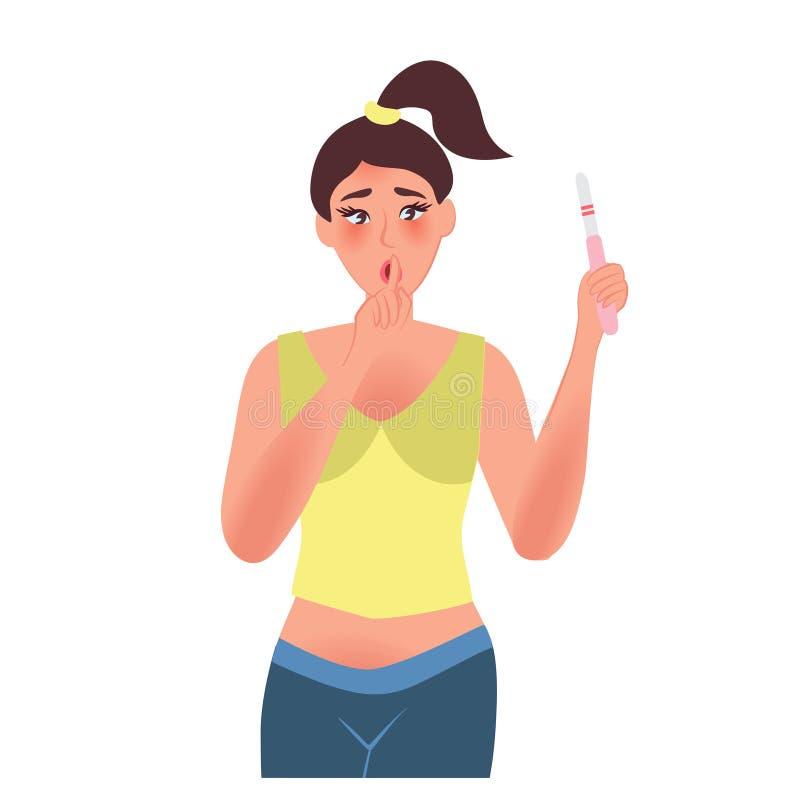 Muchacha adolescente infeliz con una prueba de embarazo libre illustration