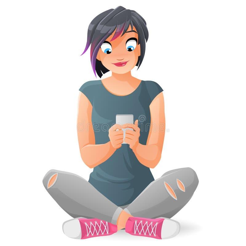 Muchacha adolescente linda que comunica o que manda un SMS con su smartphone Ejemplo del vector de la historieta aislado en el fo libre illustration
