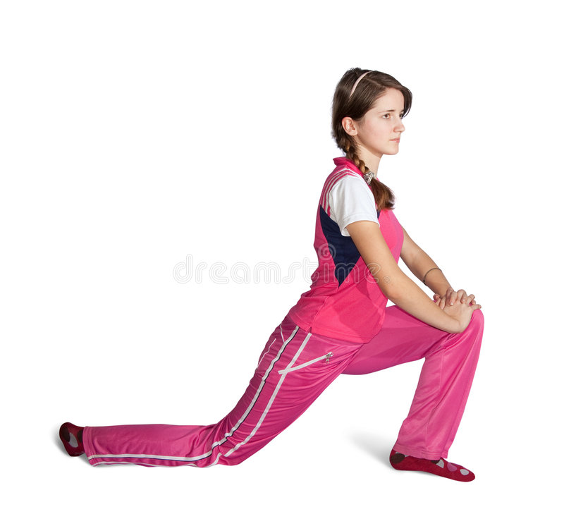 Muchacha adolescente que hace aeróbicos fotografía de archivo