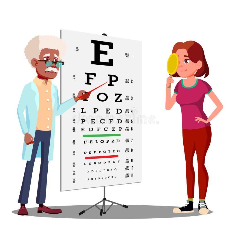 Muchacha adolescente que hace la carta de prueba en vector del gabinete del oftalmólogo s Ilustración aislada stock de ilustración