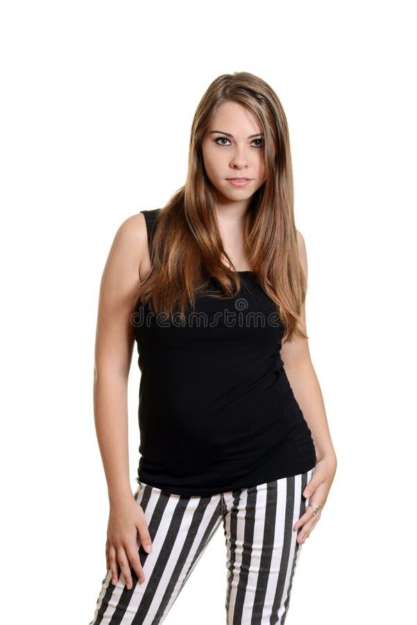 Muchacha adolescente que lleva el top sin mangas negro imagen de archivo libre de regalías