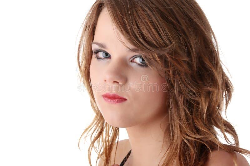 Muchacha adolescente triste con los rasgones en sus ojos imágenes de archivo libres de regalías