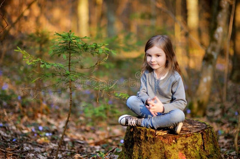 Muchacha adorable que escoge las primeras flores de la primavera fotografía de archivo libre de regalías