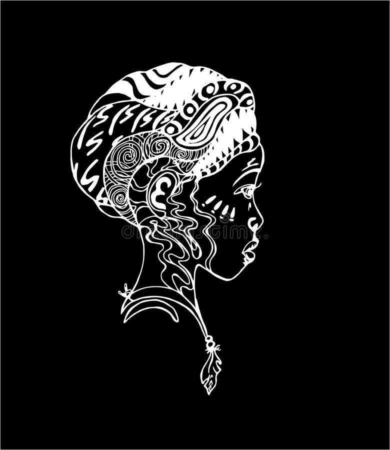 Muchacha africana en perfil Ejemplo del arte del tatuaje Tiza en una pizarra stock de ilustración