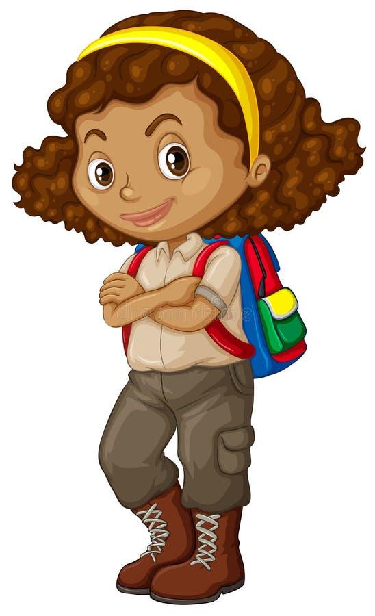 Muchacha afroamericana con la mochila libre illustration
