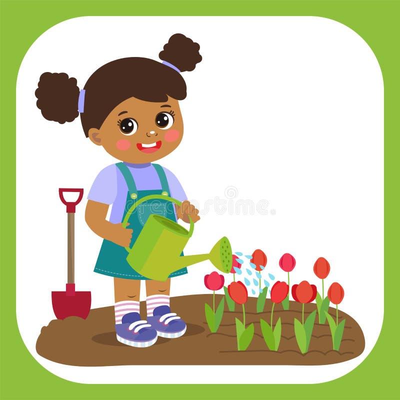 Muchacha afroamericana de la historieta linda con el funcionamiento de la regadera en jardín Granjero joven Girl stock de ilustración