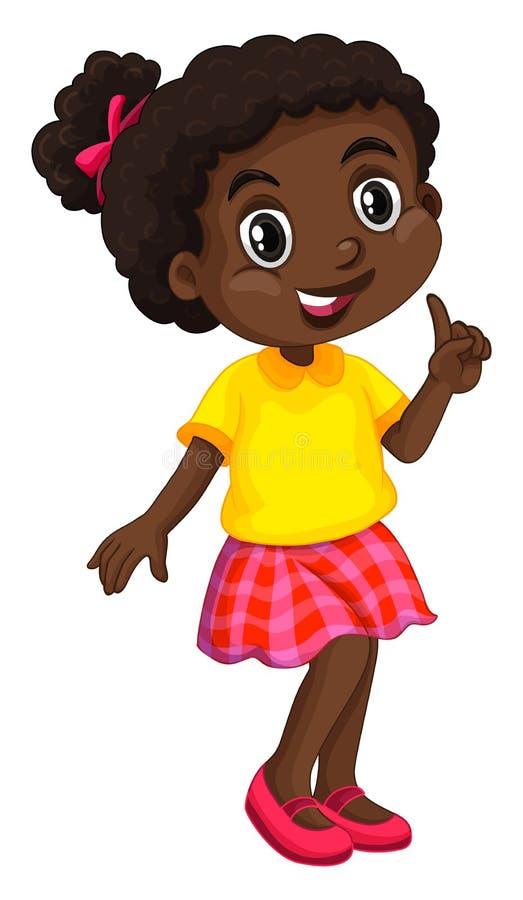 Muchacha afroamericana en camisa amarilla ilustración del vector
