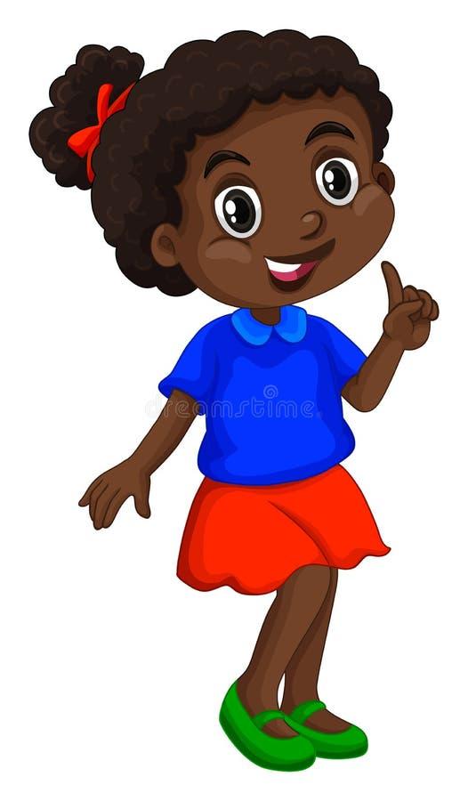 Muchacha afroamericana en camisa azul stock de ilustración