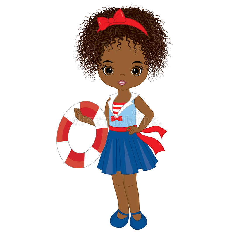 Muchacha afroamericana linda del vector pequeña con la boya libre illustration