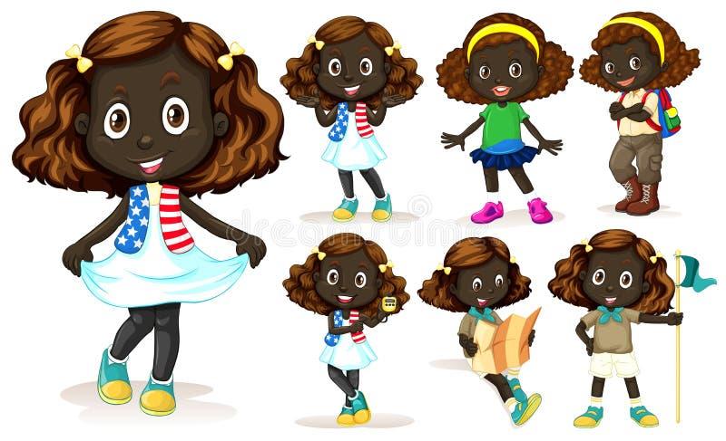 Muchacha afroamericana que hace diversas actividades ilustración del vector