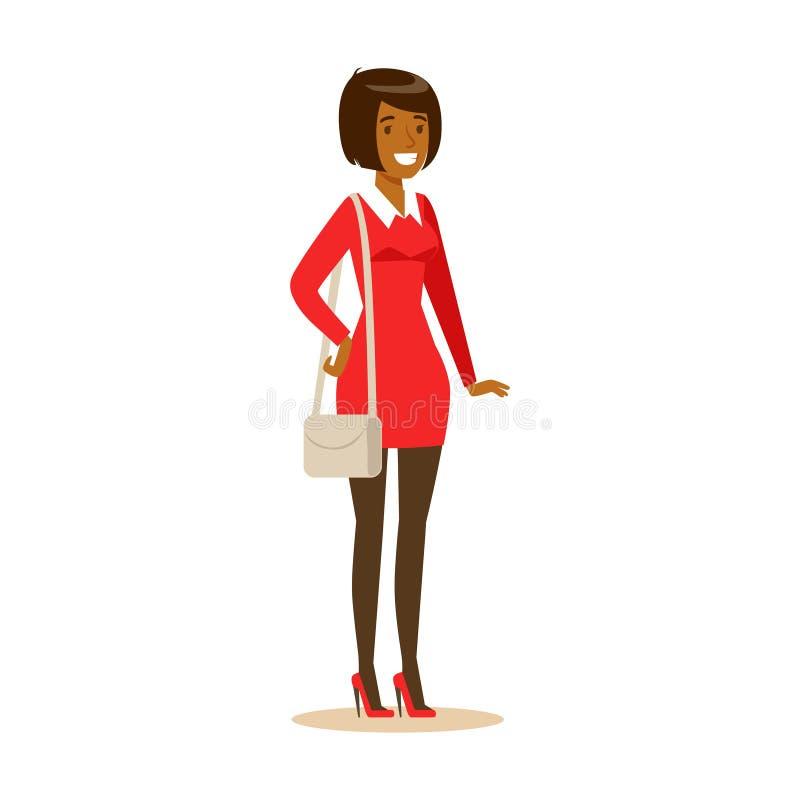 Muchacha afroamericana sonriente en ropa casual Ejemplo colorido del vector del personaje de dibujos animados libre illustration