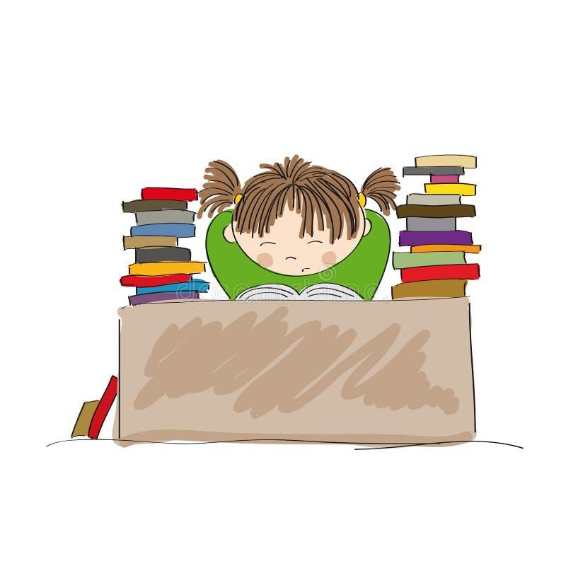 Muchacha agotada que se prepara para los exámenes, estudiando difícilmente ilustración del vector