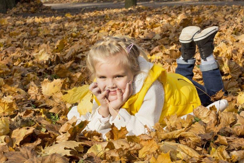 Muchacha alegre hermosa entre las hojas de otoño imagenes de archivo
